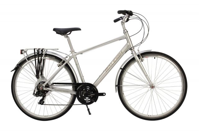 Raleigh Pioneer Tour bike with crossbar frame in silver colour